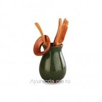 """Инструменты для чайной церемонии """"Колотый лед"""" Зеленый (6 предметов)"""