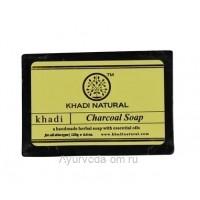 Аюрведическое мыло с Бамбуковым углем 125 г. Кхади (Charcoal Soap Khadi)