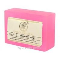 Аюрведическое мыло с Розовой водой 125 г. Кхади (Rosewater Soap Khadi)