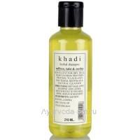 Травяной шампунь Кхади «Шафран, Тулси, Ритха», 210 мл (Khadi Herbal Shampoo Saffrron, Tulsi & Reetha)