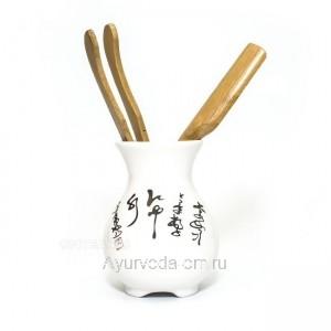 """Инструменты для чайной церемонии """"Письмена"""" (фарфор, дерево)"""