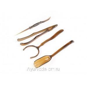 Инструменты для чайной церемонии 4 шт. (Темный пластик)