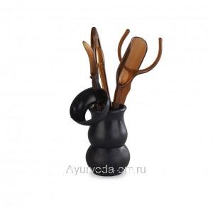 Инструменты для чайной церемонии (Темный пластик) 6 предметов