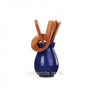 """Инструменты для чайной церемонии """"Колотый лед"""" Темно-синий (6 предметов)"""