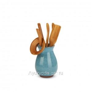 """Инструменты для чайной церемонии """"Колотый лед"""" Голубой (6 предметов)"""