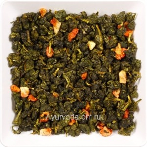 Зелёный ароматизированный чай Улун Клубника со сливками 50г.