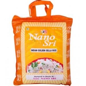 Индийский Рис Басмати  Голден селла  (пропаренный) 1 кг. Нано Сри (NANO SRI Indian Basmati Rice Golden Sella)