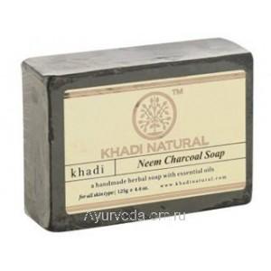 Аюрведическое мыло с Нимом и Бамбуковым углем 125 г. Кхади (Neem Charcoal Soap Khadi) Индия